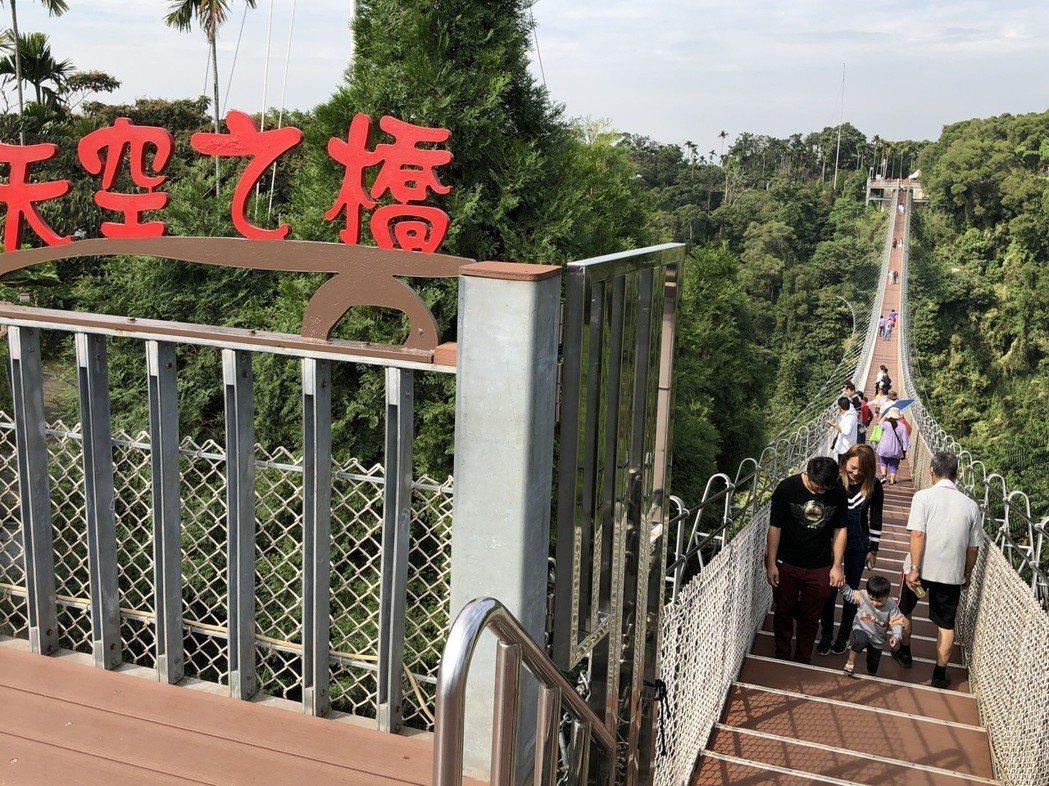 旅客人數大幅下滑,讓南投市八卦山天空之橋只能想盡辦法找回昔日風華。 記者江良誠/...