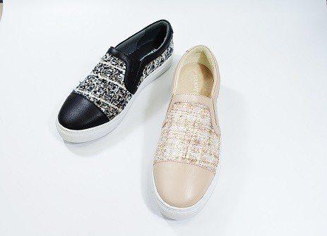 HANNFORT CAMPUS小香風毛呢鉛筆氣墊休閒鞋-裸膚粉、赫本黑,定價:3...