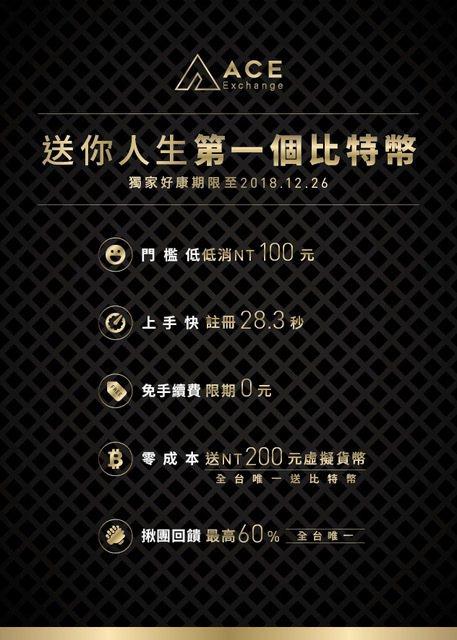 台灣金融最大盛事「FinTech」,ACE送您人生第一個比特幣! ABA/提供