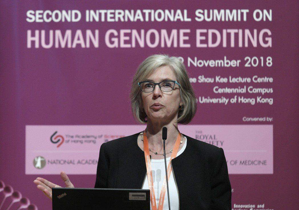 基因編輯技術發表人之一杜德娜,也在香港大學的人類基因組編輯國際峰會上報告。 圖/...