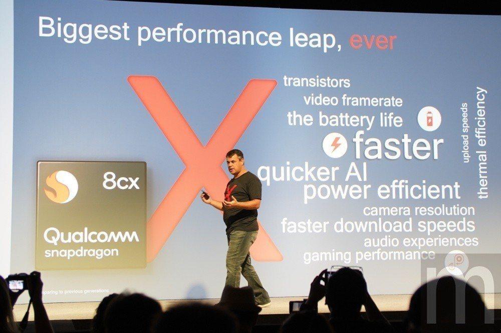 Snapdragon 8cx強調導入更高效能與更低電耗,同時也維持先前Sanpd...