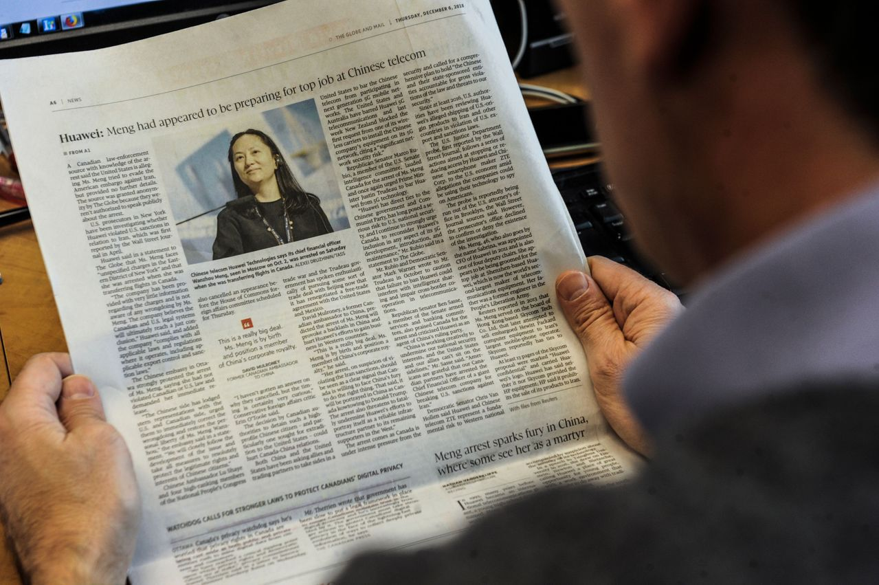 加拿大報紙環球郵報(the Globe and Mail)率先報導孟晚舟被捕的消...