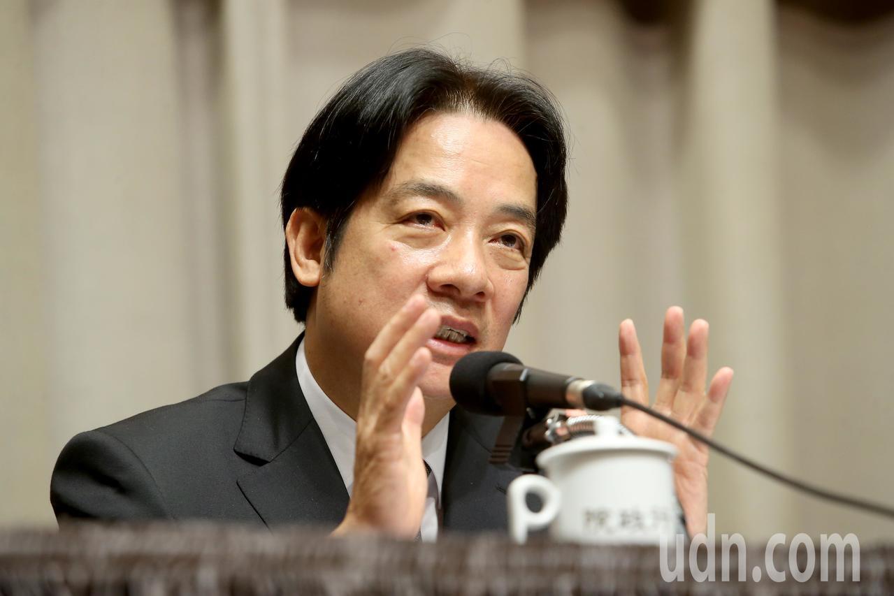 行政院上午召開記者會,院長賴清德表示,時間一到他會堅定離開,負起政治責任,不讓檢...