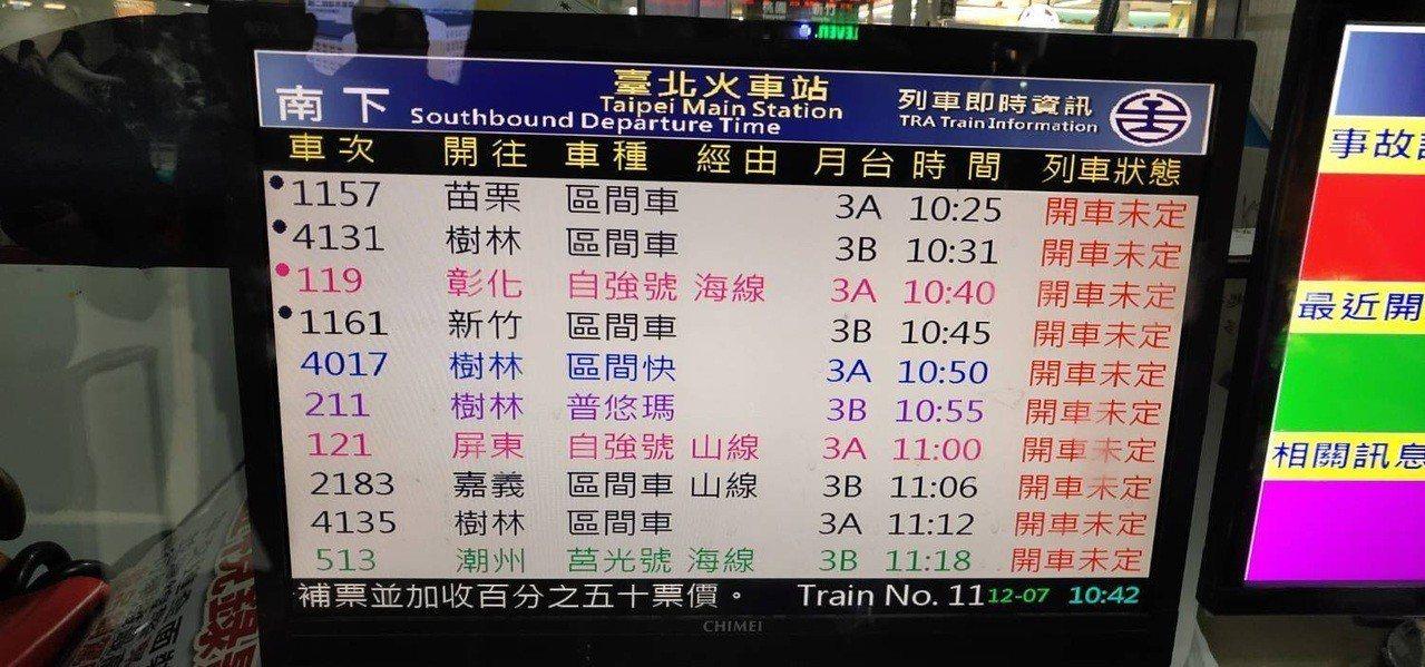 電子看板顯示多班次列車「開車未定」。圖/讀者提供