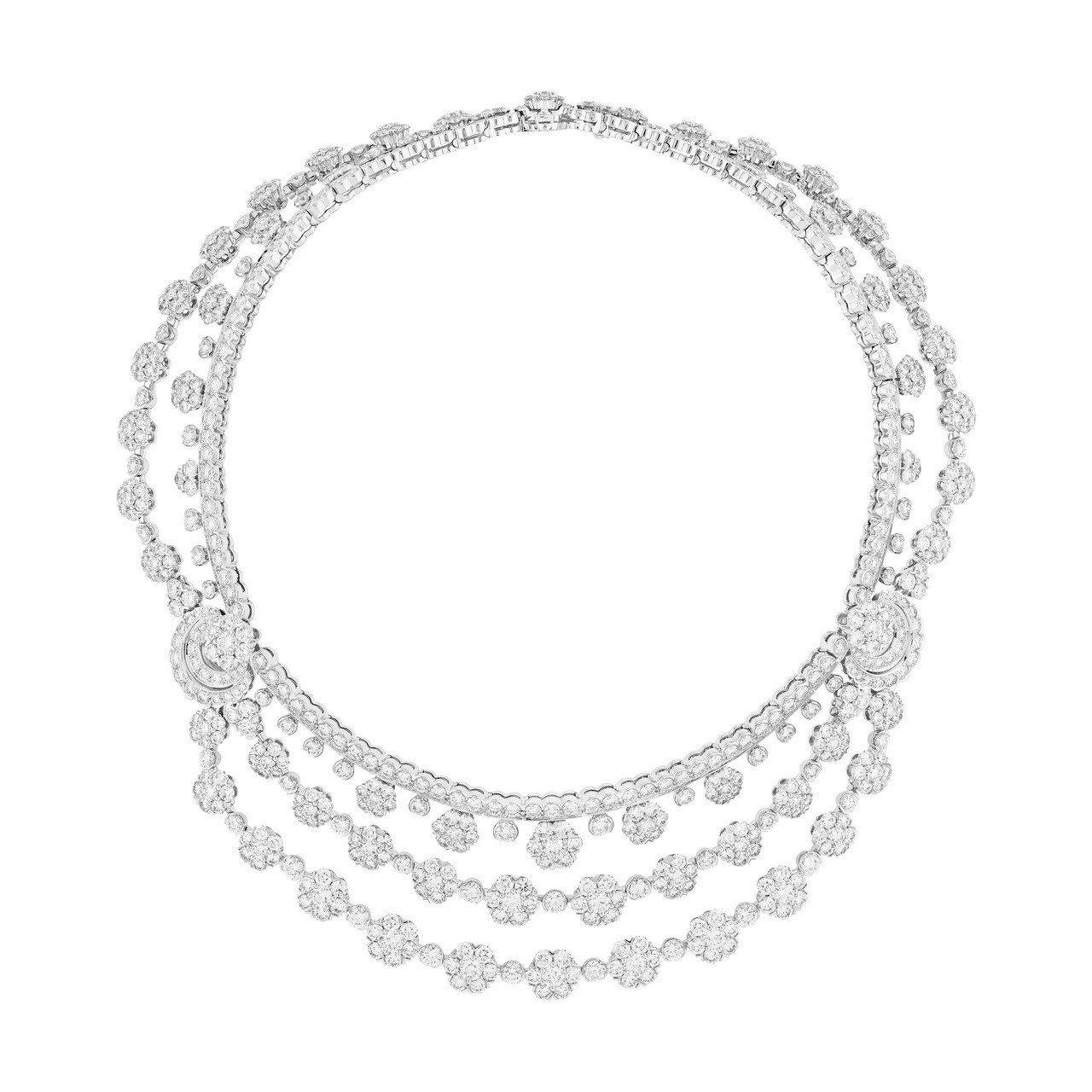 梵克雅寶Snowflake可轉換式項鍊,鉑金與白K金鑲嵌鑽石,價格店洽。圖/梵克...