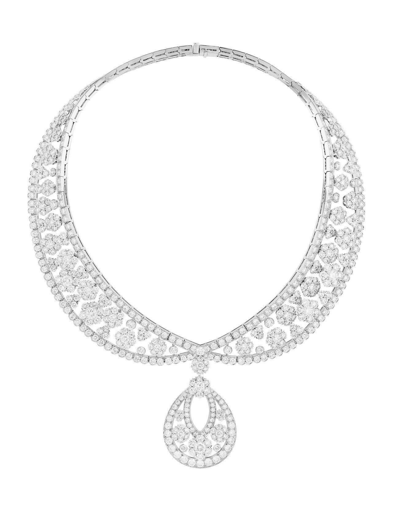 梵克雅寶Snowflake衣領造型項鍊及可拆式吊墜,鉑金與白K金鑲嵌鑽石,價格店...
