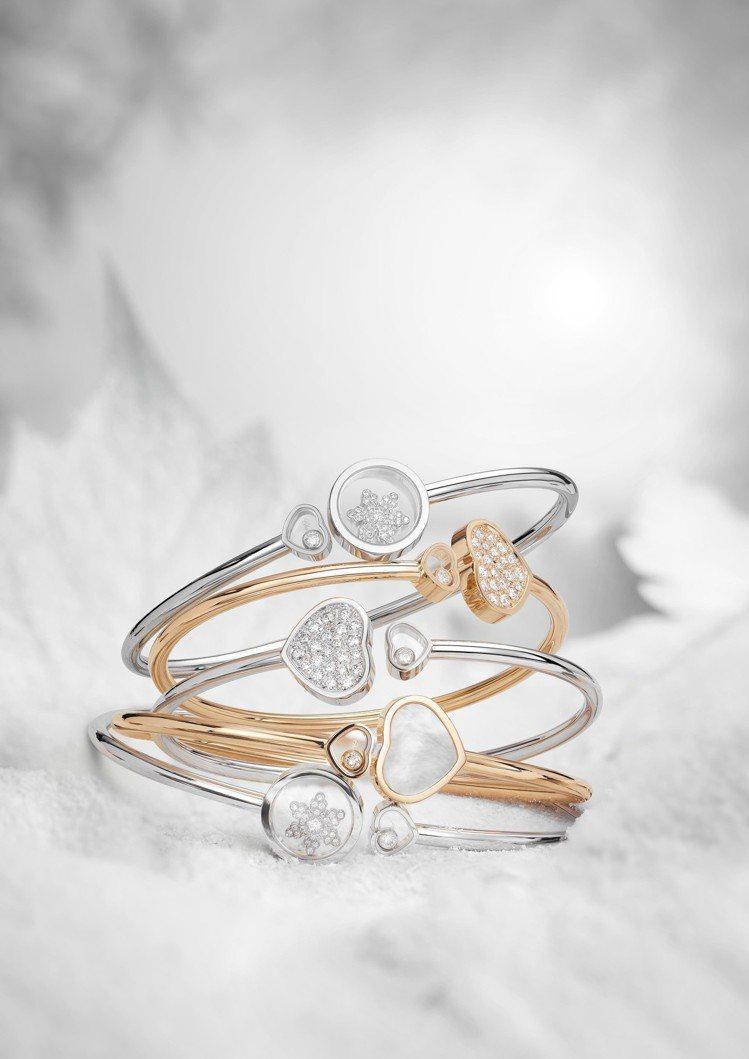 蕭邦滑動鑽石手鐲推出冬日雪花造型圖案款,可堆疊或單獨配戴。圖/蕭邦提供