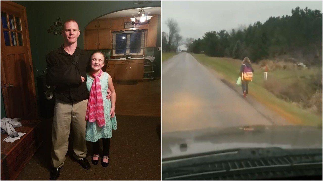 美國俄亥俄州一名父親考克斯因女兒在校霸凌同學,決定罰她在攝氏2度低溫下,走8公里...