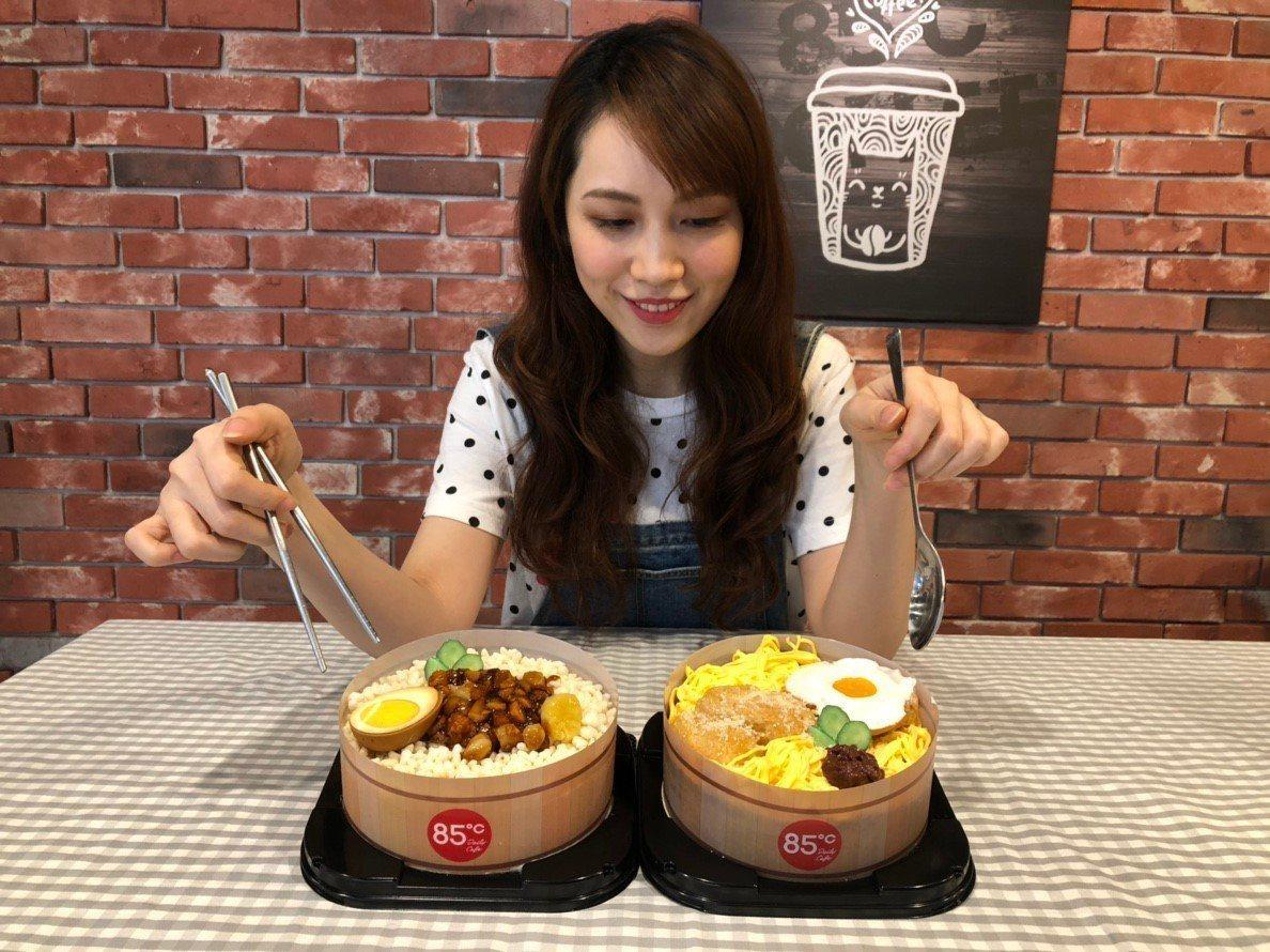 甜的台灣懷舊便當造型蛋糕,打造讓人意想不到地反差驚喜。圖/85˚提供