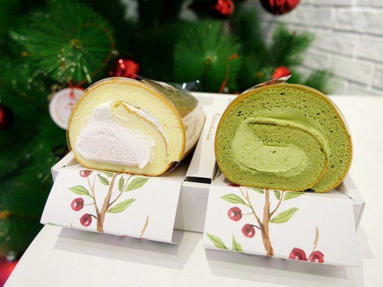 生乳捲雙捲禮盒(草莓雙漩+靜岡抹茶),售價555元。圖/記者張芳瑜攝影