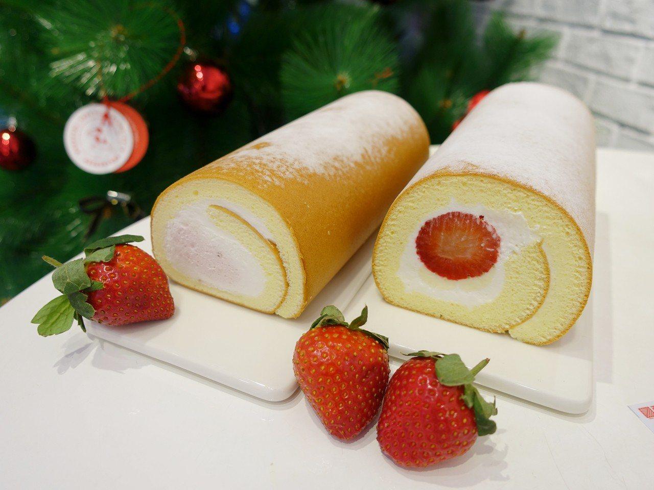 草莓雙漩生乳捲(左),售價420元;鮮採草莓生乳捲(右),售價485元。記者張芳...