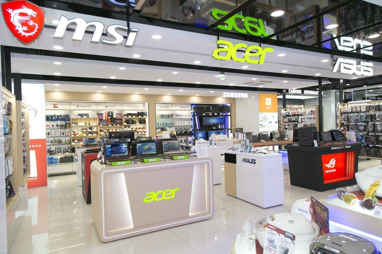全國電子Digital City南京松江店有多家資通訊數位品牌與潮牌家電進駐。圖...