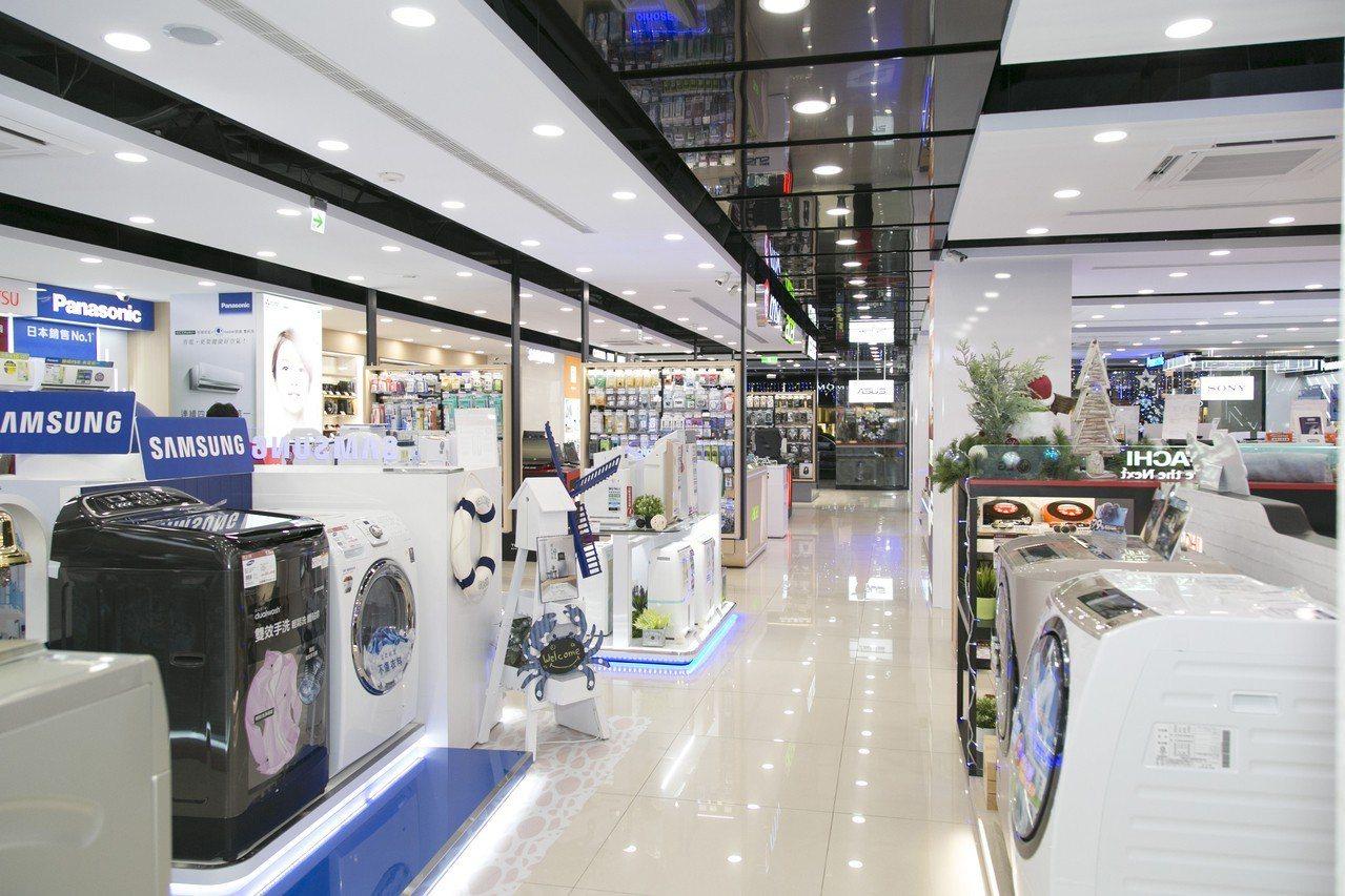 全國電子Digital City南京松江店占地120坪,空間舒適明亮。圖/全國電...