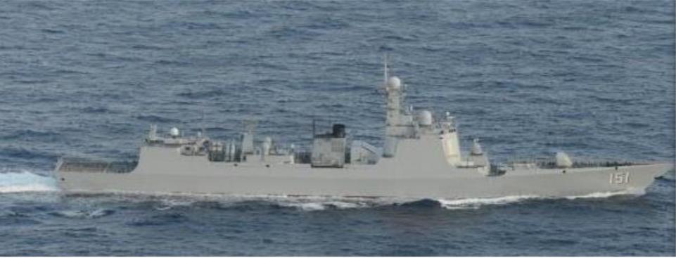 12月7日通過宮古海峽近日西太平洋的中共鄭州號驅逐艦。圖/日本防衛省