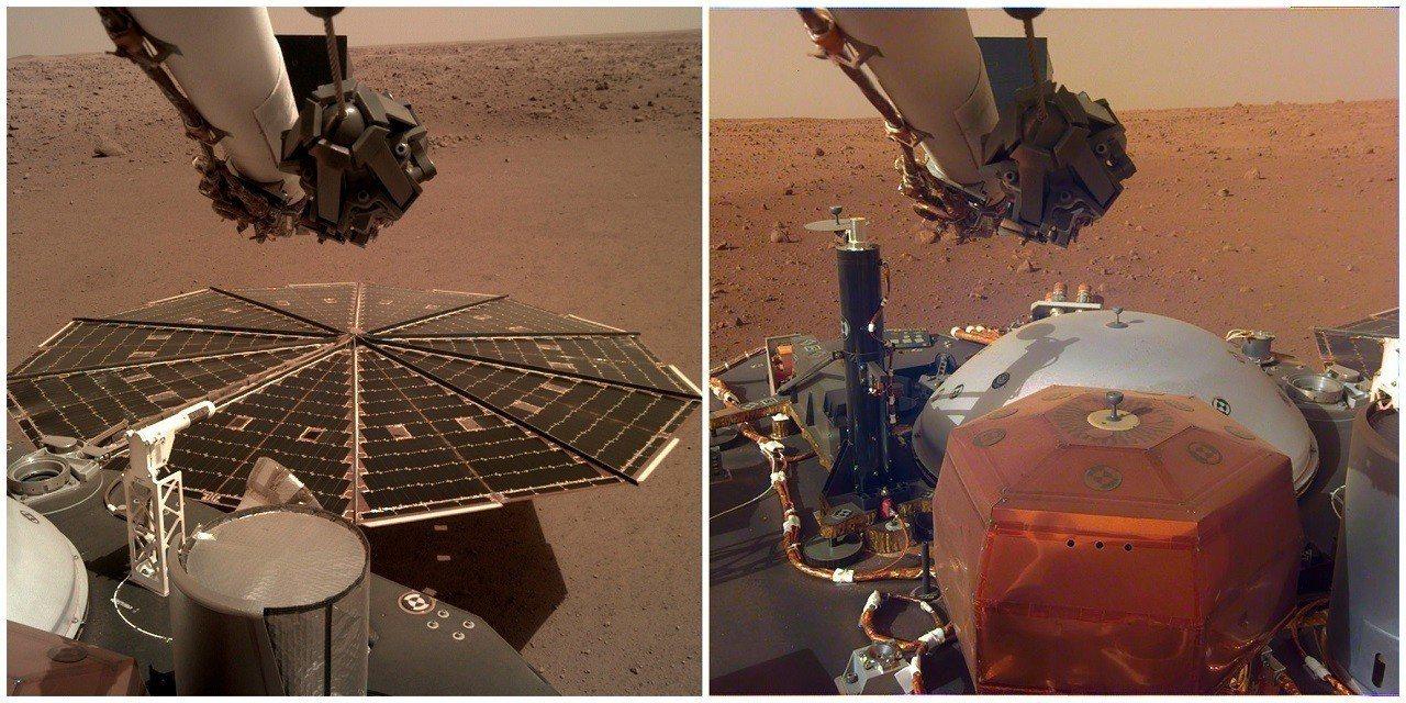 NASA在7日釋出成功降落火星的「洞察號」探測器錄下的火星風聲與傳回的影像,可見...