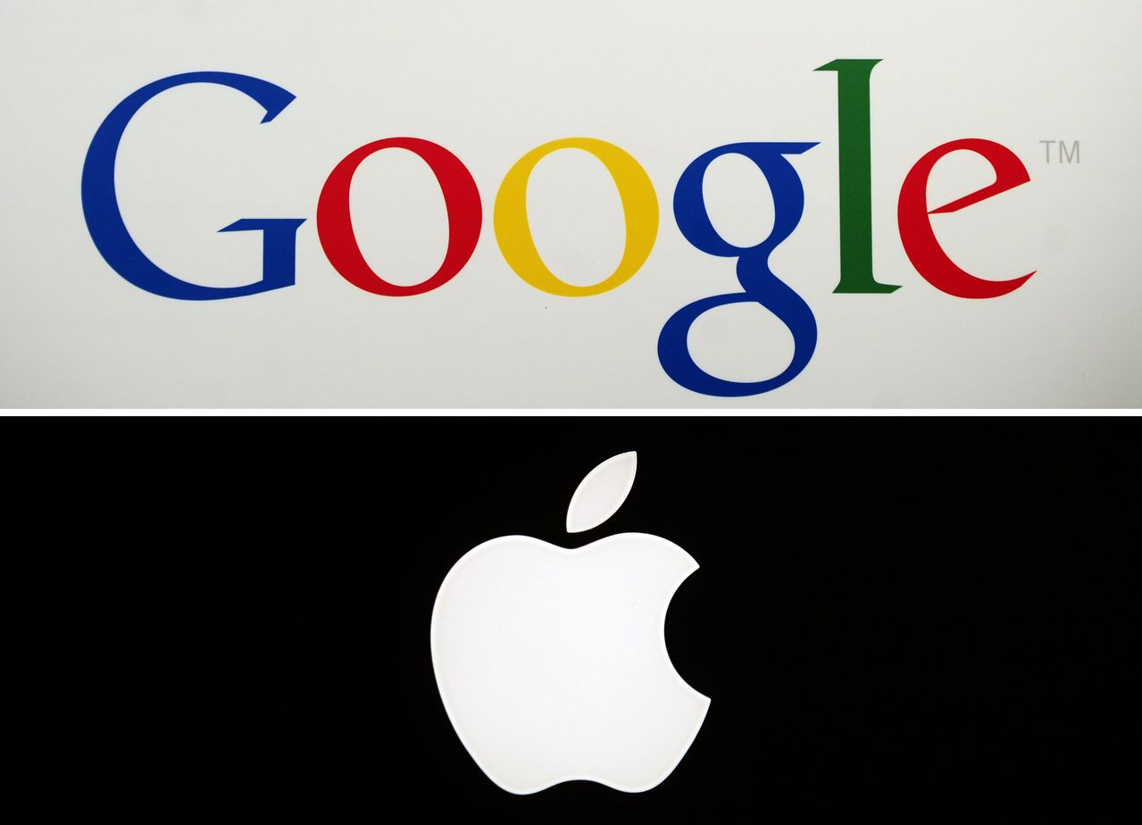 截至上周五收盤,蘋果、Google母公司股價今年來漲幅已全數吐出。 法新社