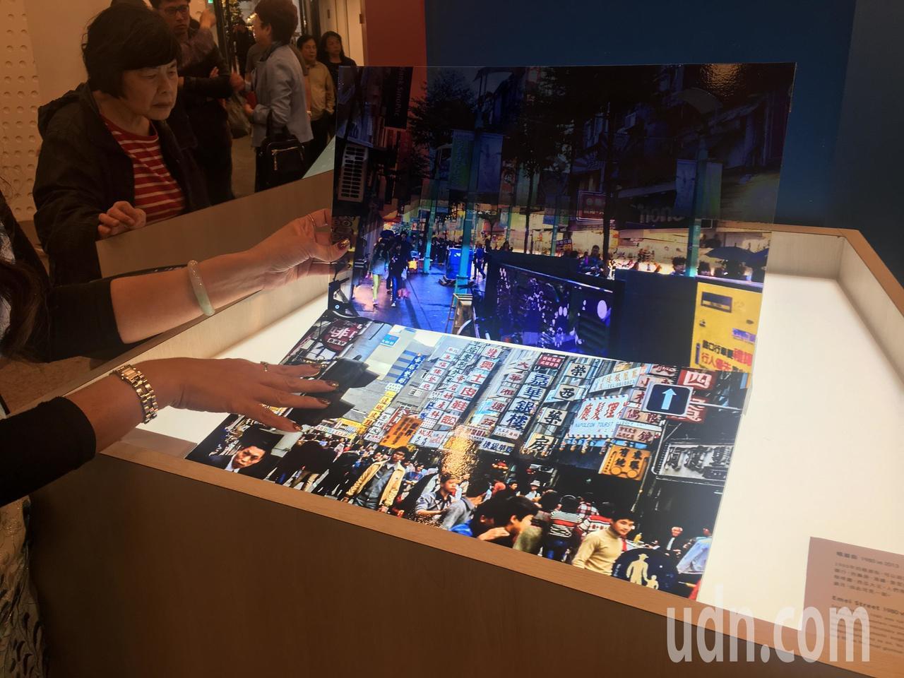 西門紅樓「今昔特展」其中一組照片,展現西門徒步區的今昔對照。記者魏莨伊/攝影