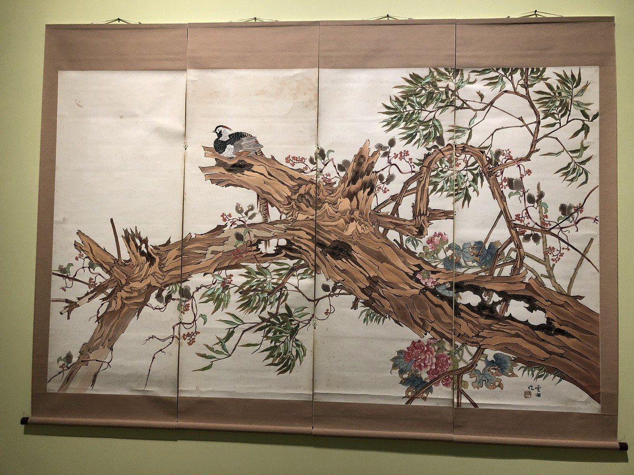 國美館「花之禮讚」展,經典畫家郭雪湖作品。記者何定照/攝影