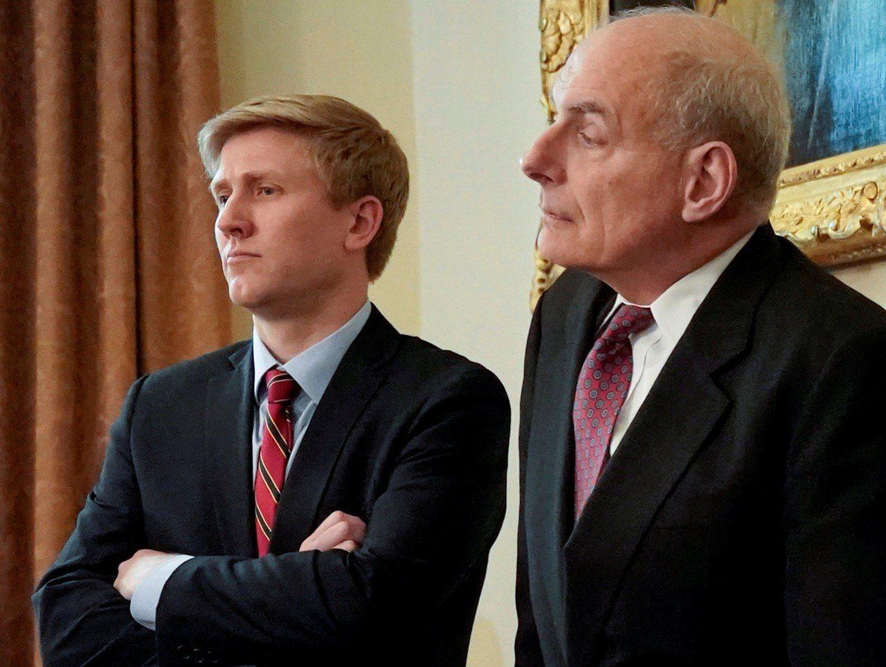 將在年底離職的白宮幕僚長凱利(右) 與外傳美國總統川普中意的幕僚長替代人選艾爾斯...