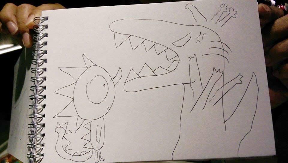 綺綺生前畫的恐龍。圖/取自幫綺綺接生的台大婦產科名醫施景中臉書
