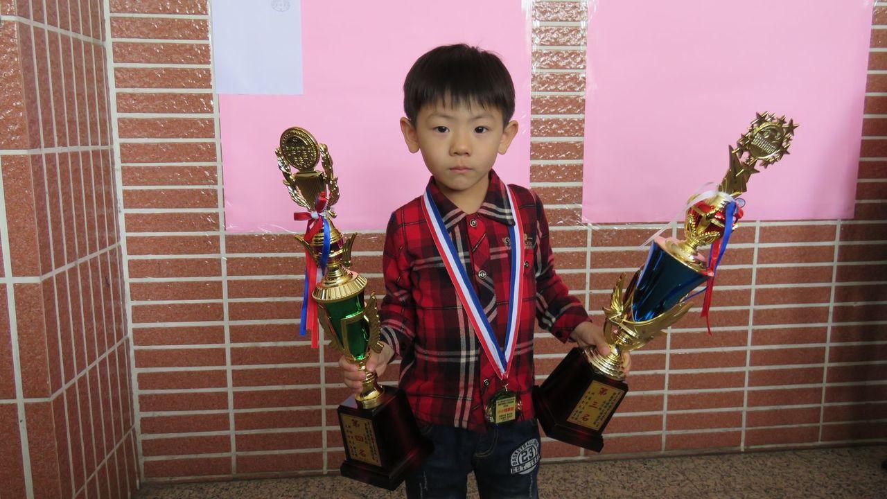 第3屆桃園市長盃珠心算暨數學國際公開邀請賽,年紀最小4歲陳昱錡。記者張弘昌/攝影