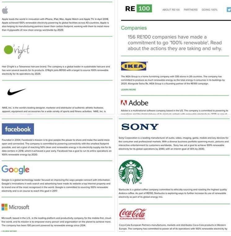 在RE100再生能源倡議行動的官網上,歐萊德(O'right)與蘋果(Apple...