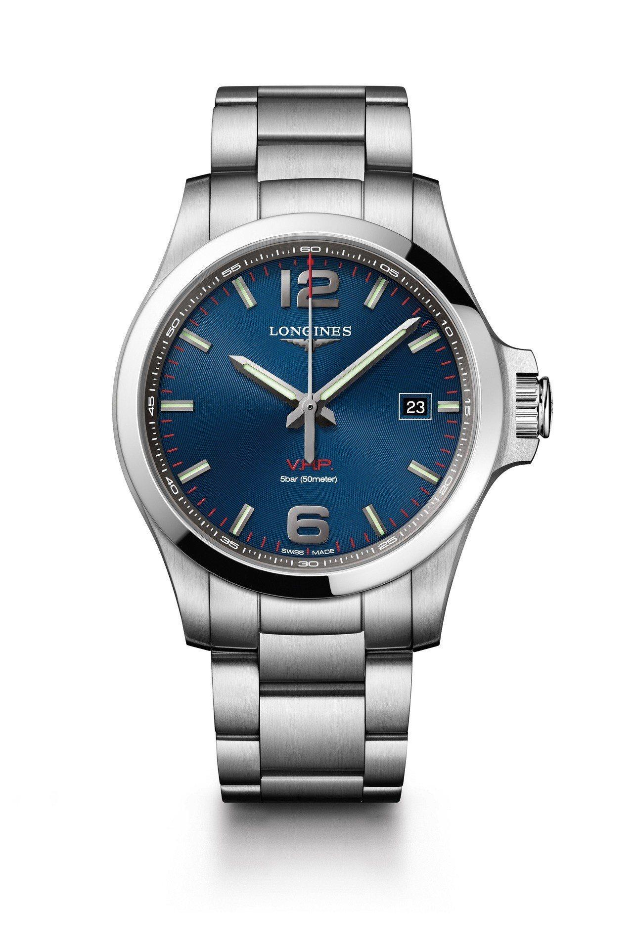 浪琴表征服者系列 V.H.P.大三針腕表,藍面 (L3.726.4.96.6),...