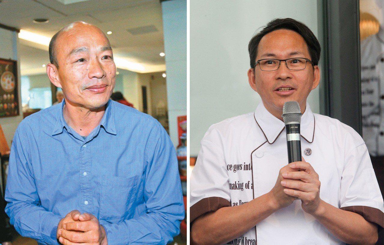 吳寶春(右)陷入「中國台灣」風暴,韓國瑜(左)將陪他一起開記者會說明。 聯合報系...