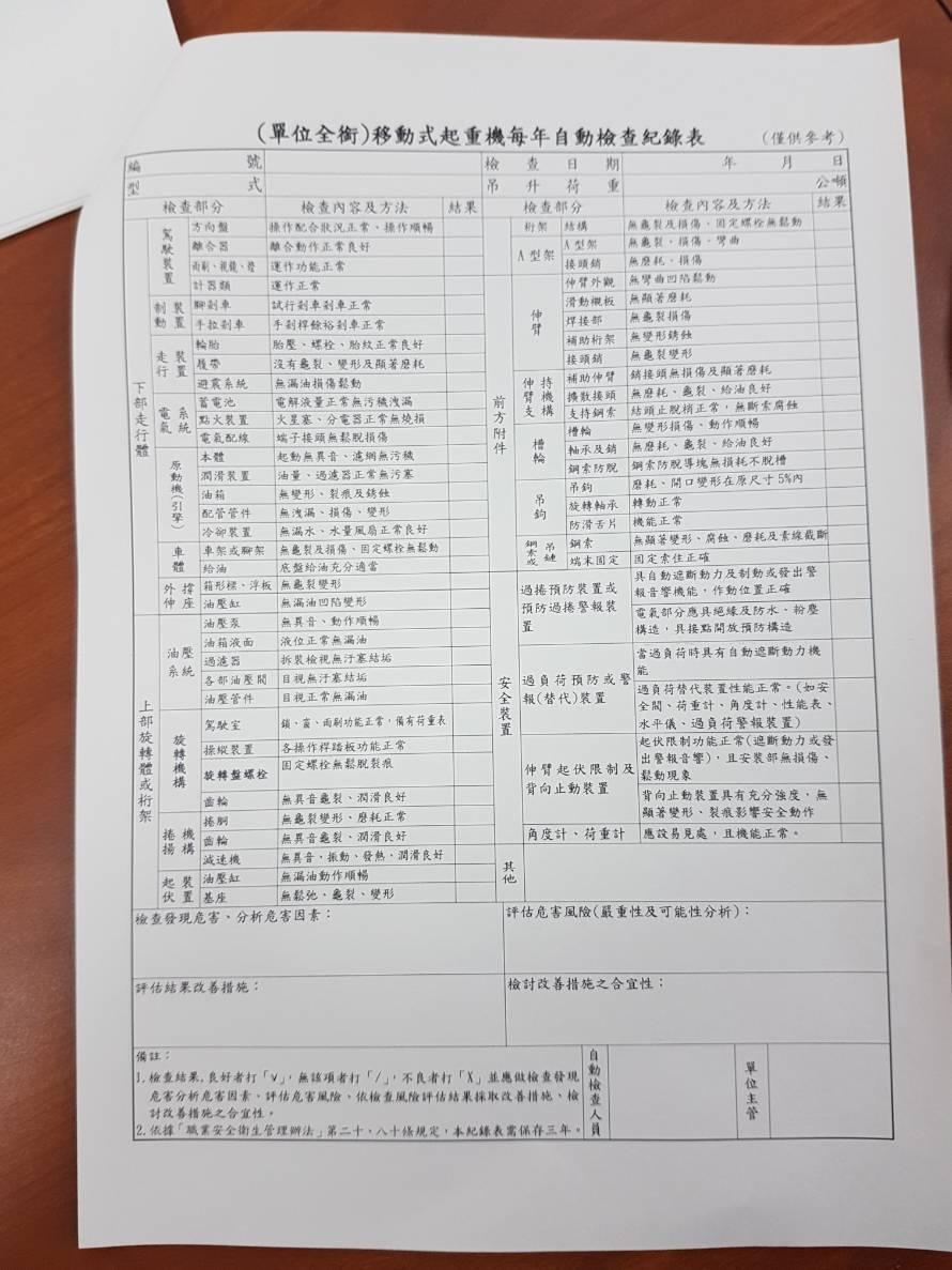 移動式起重機業者每年須自主完成檢核,違者將開罰。記者吳佩旻/攝影