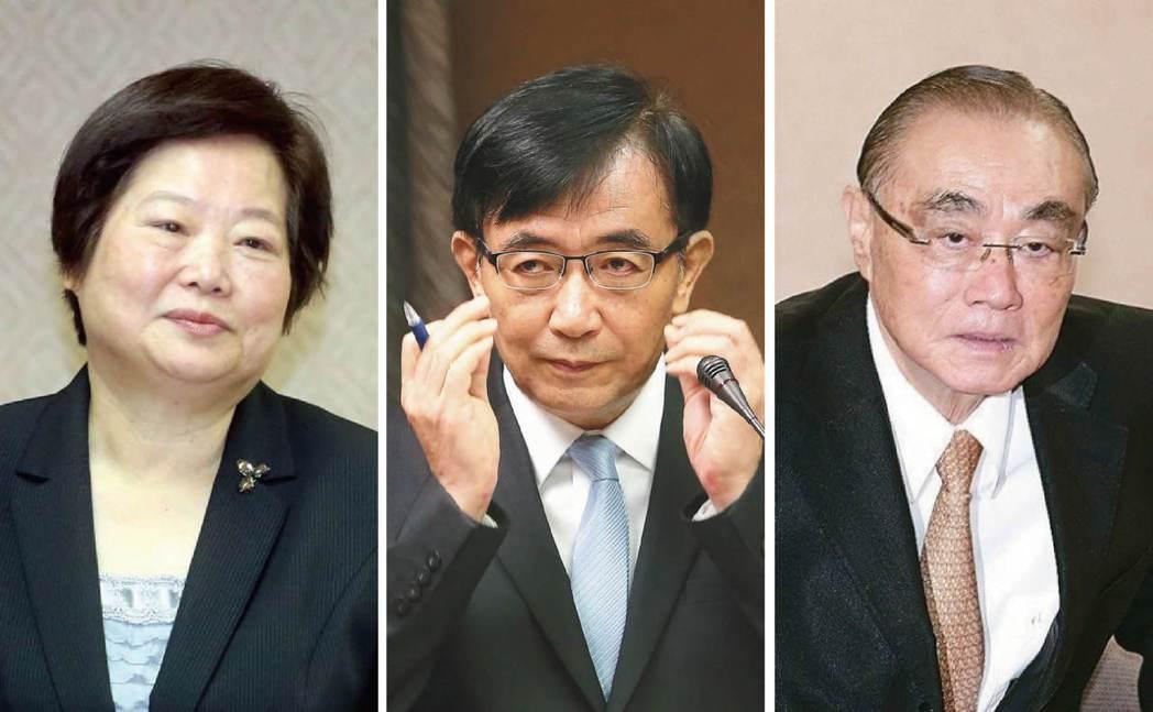 圖由左至右,分為林美珠、吳宏謀、馮世寬。 圖/聯合報系資料照片