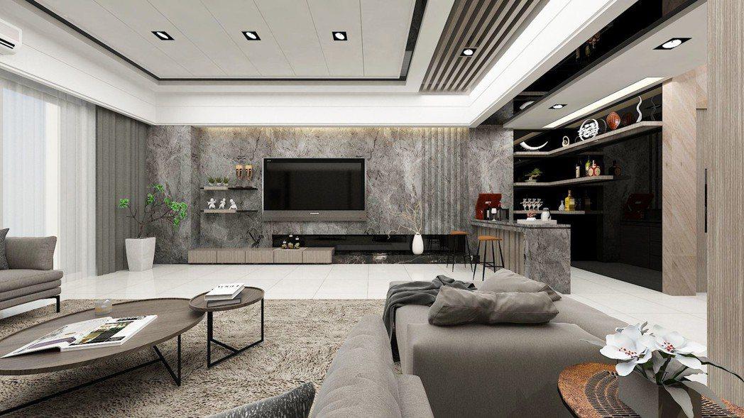 客廳 氣派體面的大客廳,招待客人至為尊貴-3D裝潢示意圖。圖片提供/城品建築開發