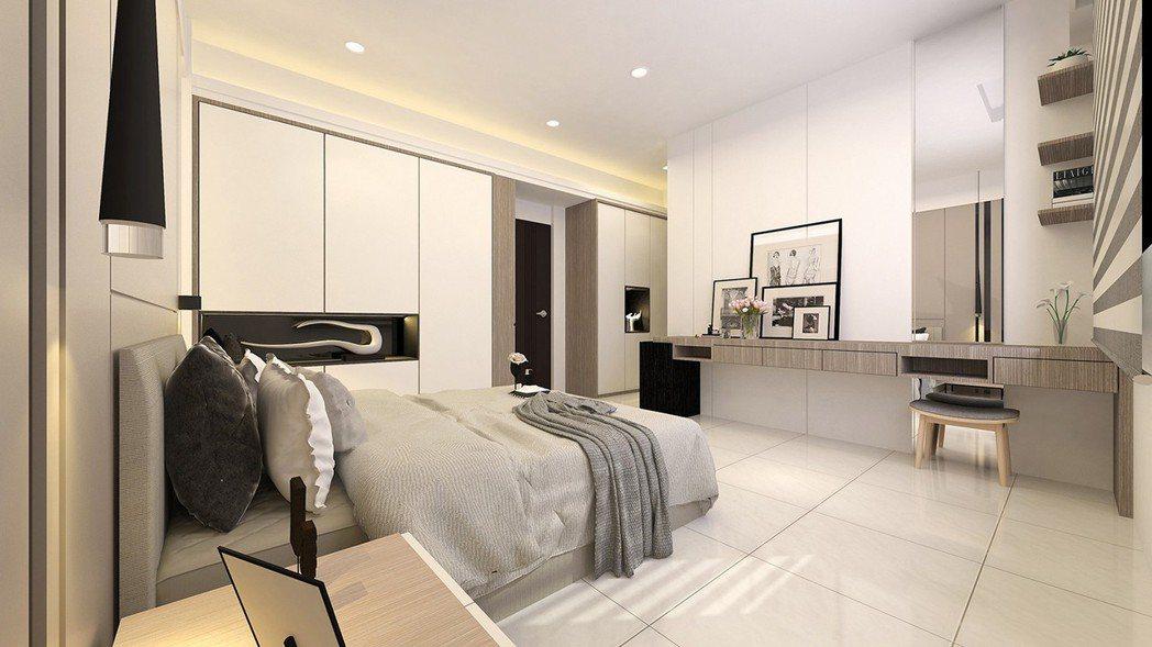次臥-2 簡潔大方,多功能次臥室-3D裝潢示意圖。圖片提供/城品建築開發