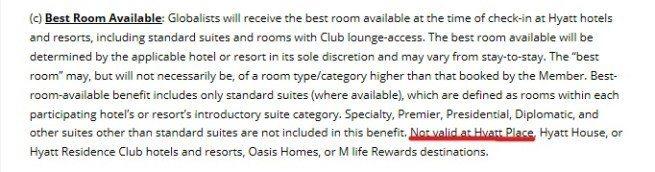 酒店方人員主動截圖規定,明確的顯示Globalist會員在Hyatt Place...