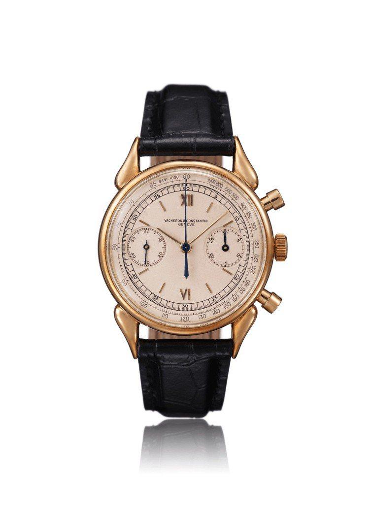 暱稱「牛角」的骨董玫瑰金計時腕表。圖/江詩丹頓提供