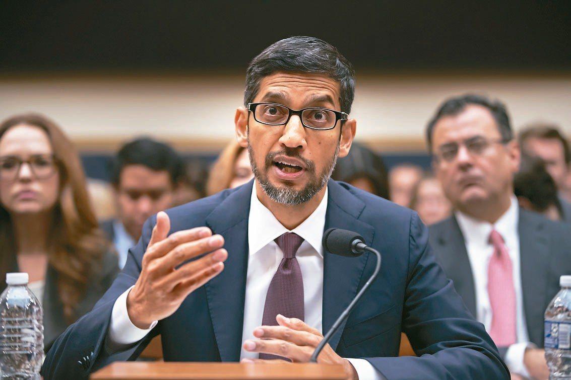 Google執行長皮伽出席眾議院聽證會。 美聯社