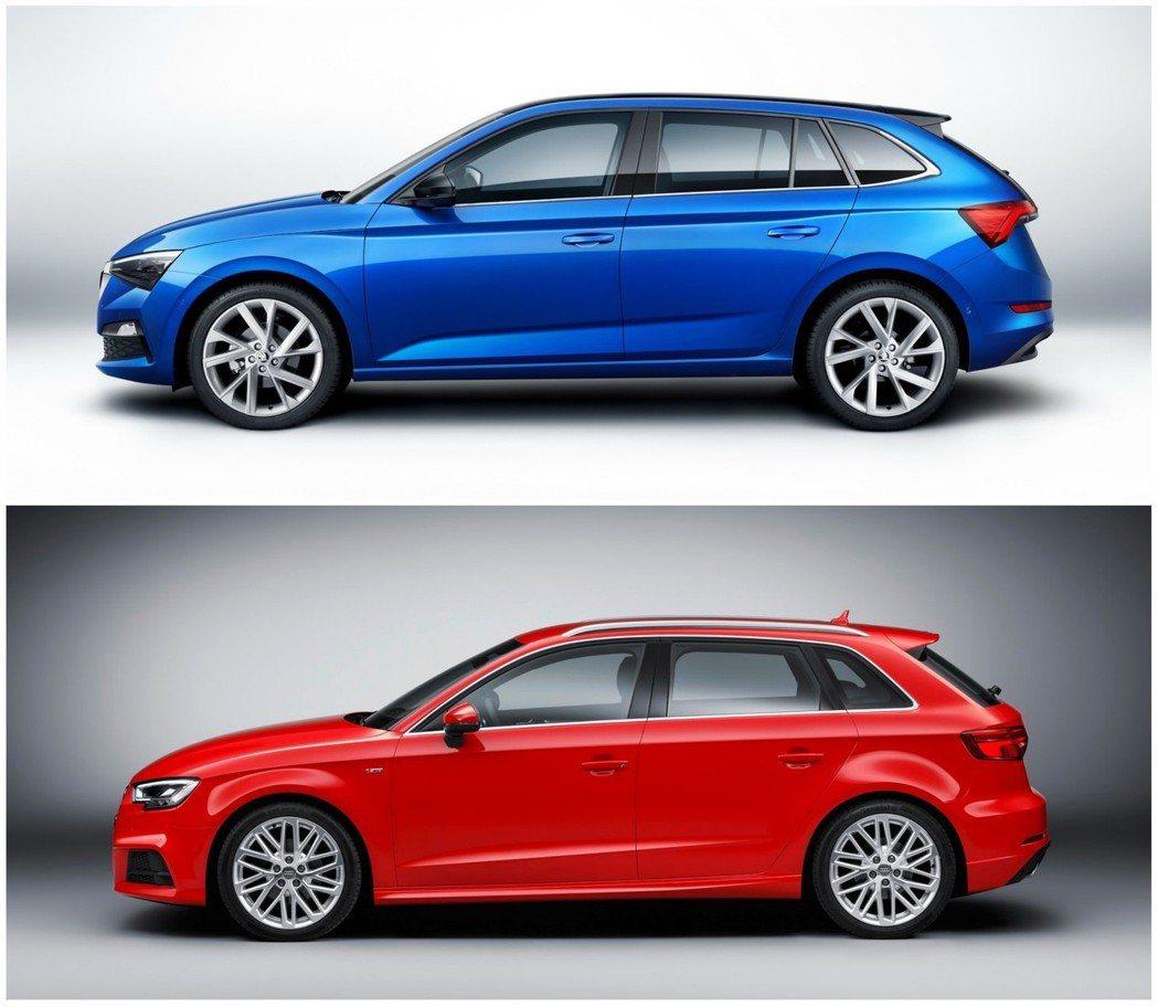 Skoda Scala的軸距2,649 mm略長於Audi A3 Sportba...