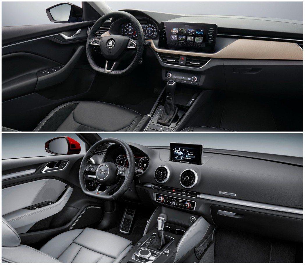 雖然Scala是全新世代車款,但因為品牌區別,豪華質感還是A3略勝。 摘自Sko...