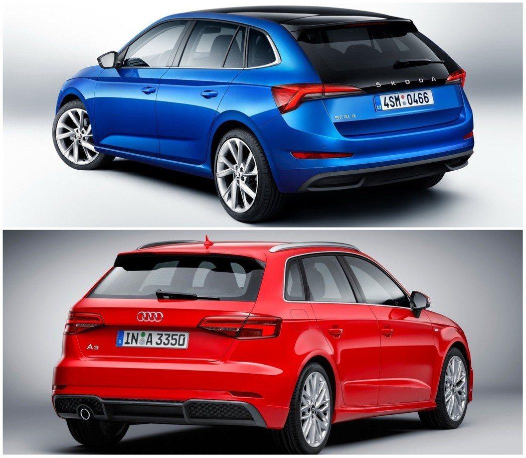 (圖上)Skoda Scala(圖下)Audi A3 Sportback。 摘自...