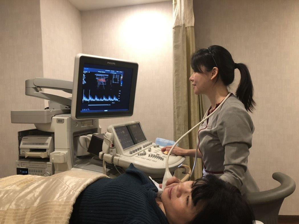 醫師建議,打鼾者應定期做頸動脈超音波檢查。圖/榮新診所提供