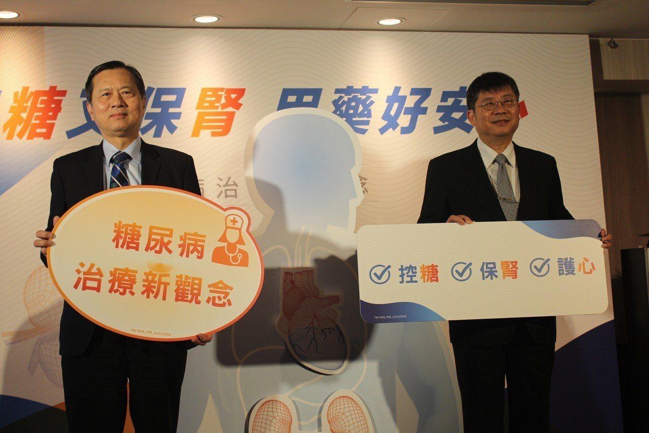 糖尿病醫學會理事長許惠恒(左)及心臟學會理事長黃瑞仁(右)共同呼籲,「控糖、保腎...