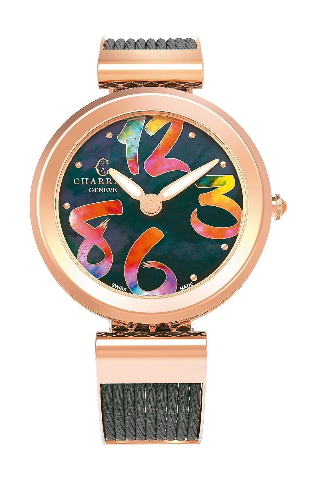 Forever系列不鏽鋼腕表搭配黑色塗鴉數字表盤,39,900元。 圖/夏利豪提...