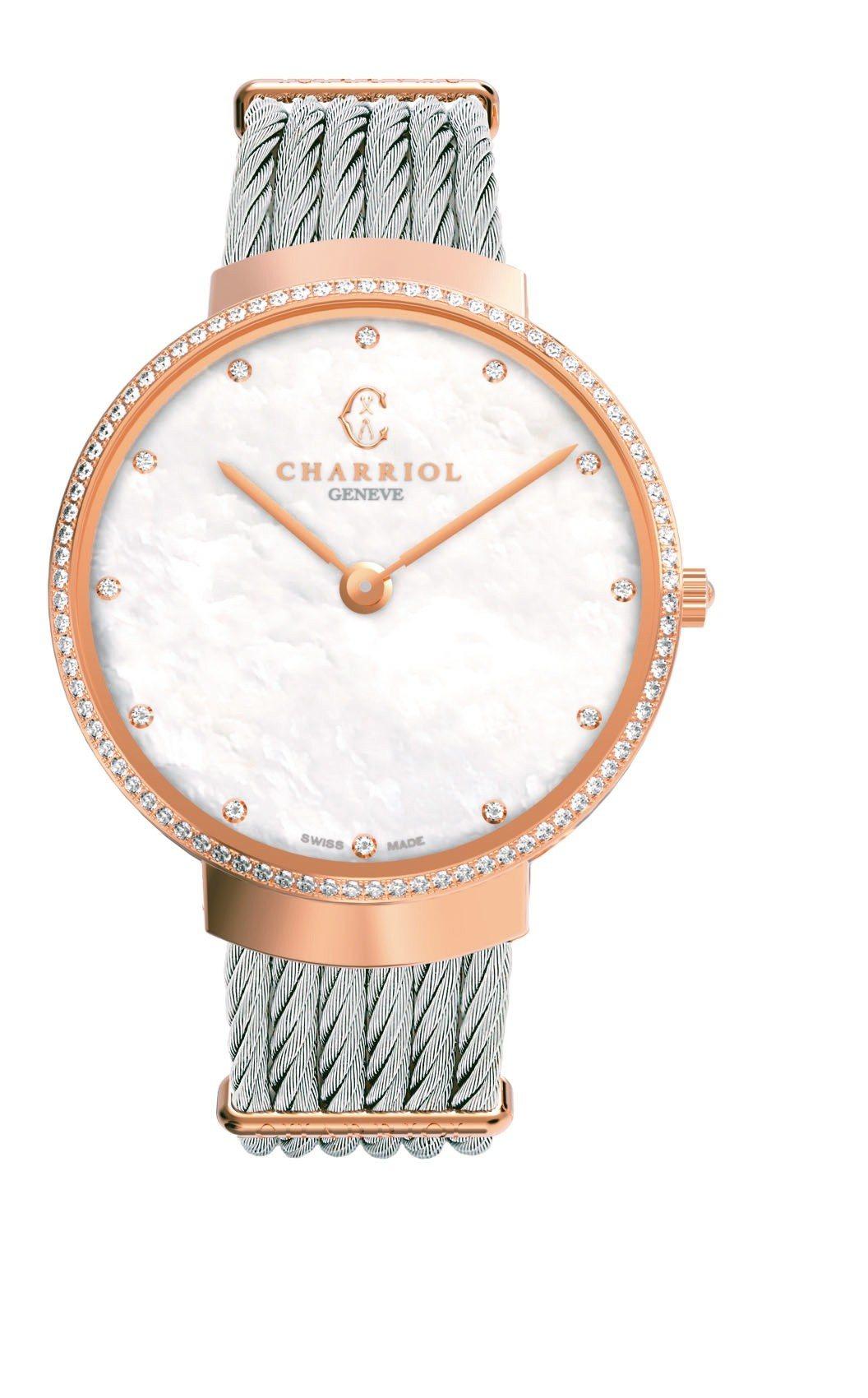 Slim系列34毫米腕表搭配珍珠母貝表盤,99,300元。 圖/夏利豪提供