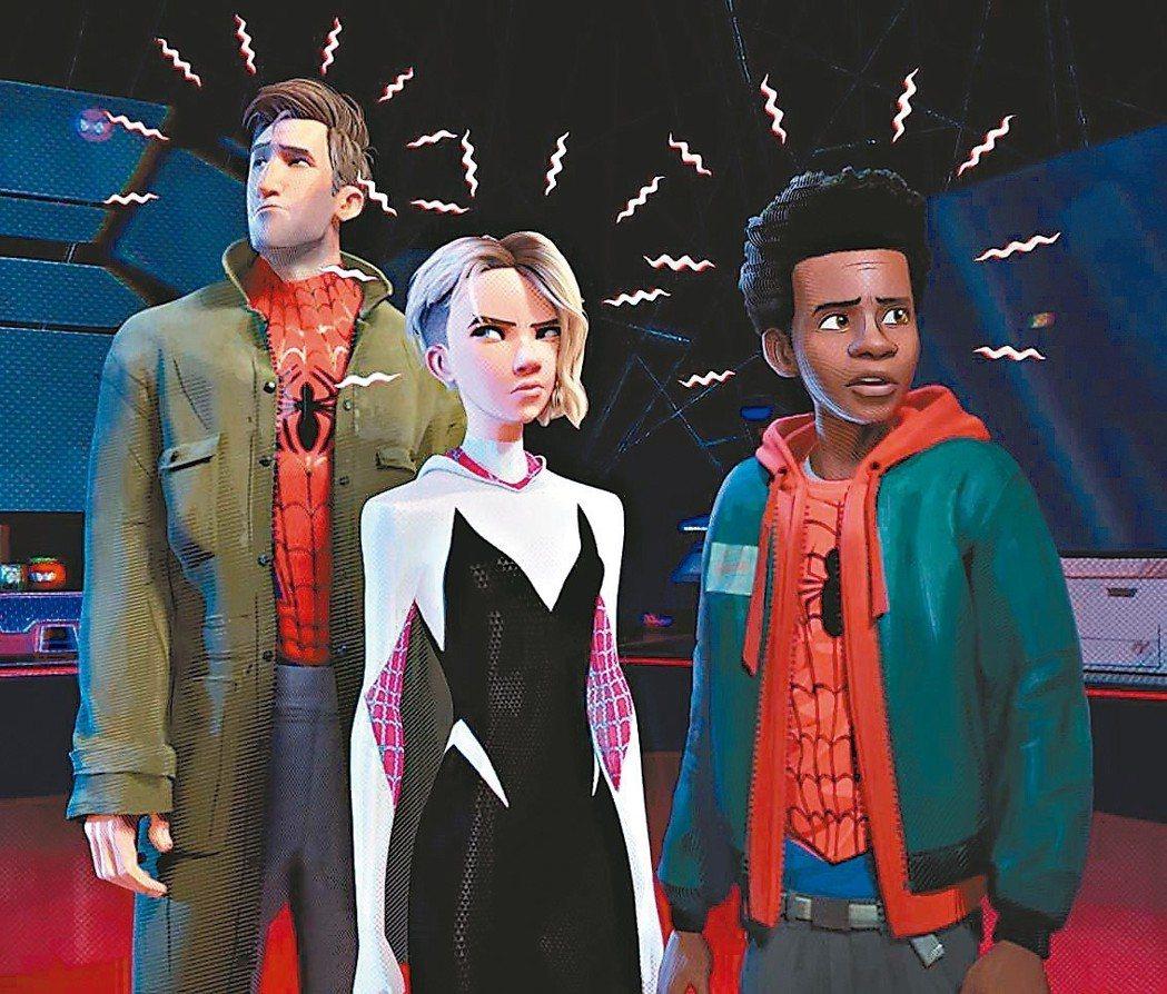 「蜘蛛人:新宇宙」出現一堆平行時空、不同模樣的蜘蛛人。 圖/摘自imdb