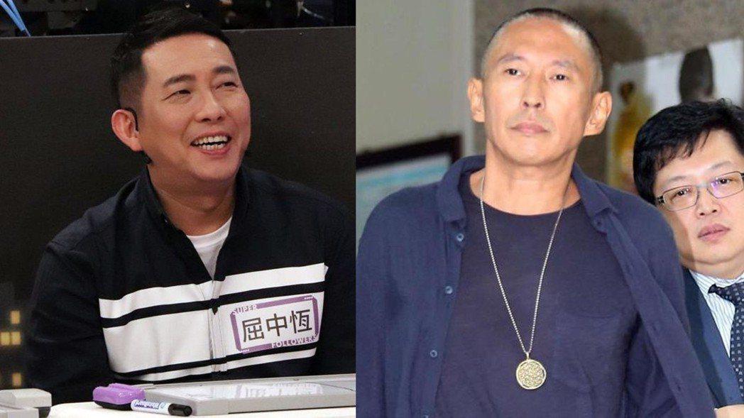 屈中恆(左)提到,最近被民眾誤認成豆導鈕承澤,無辜慘遭挨罵。圖/中天提供、報系資