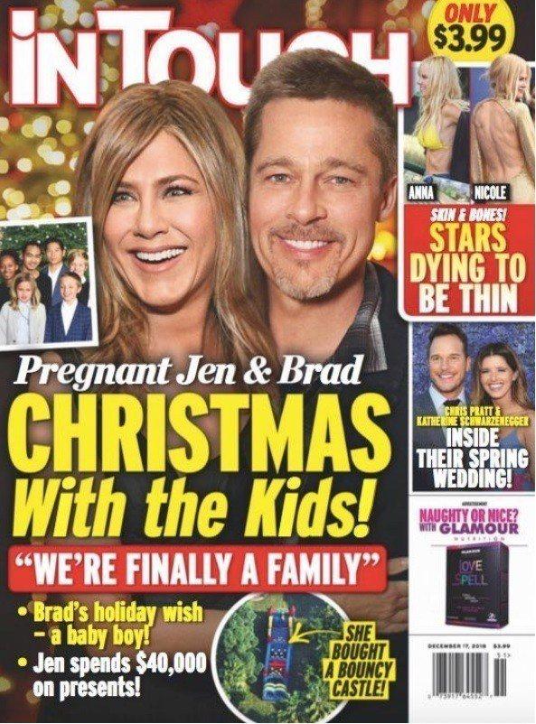 歐美娛樂雜誌封面報導珍妮佛安妮絲頓懷了布萊德彼特的孩子。圖/摘自In Touch