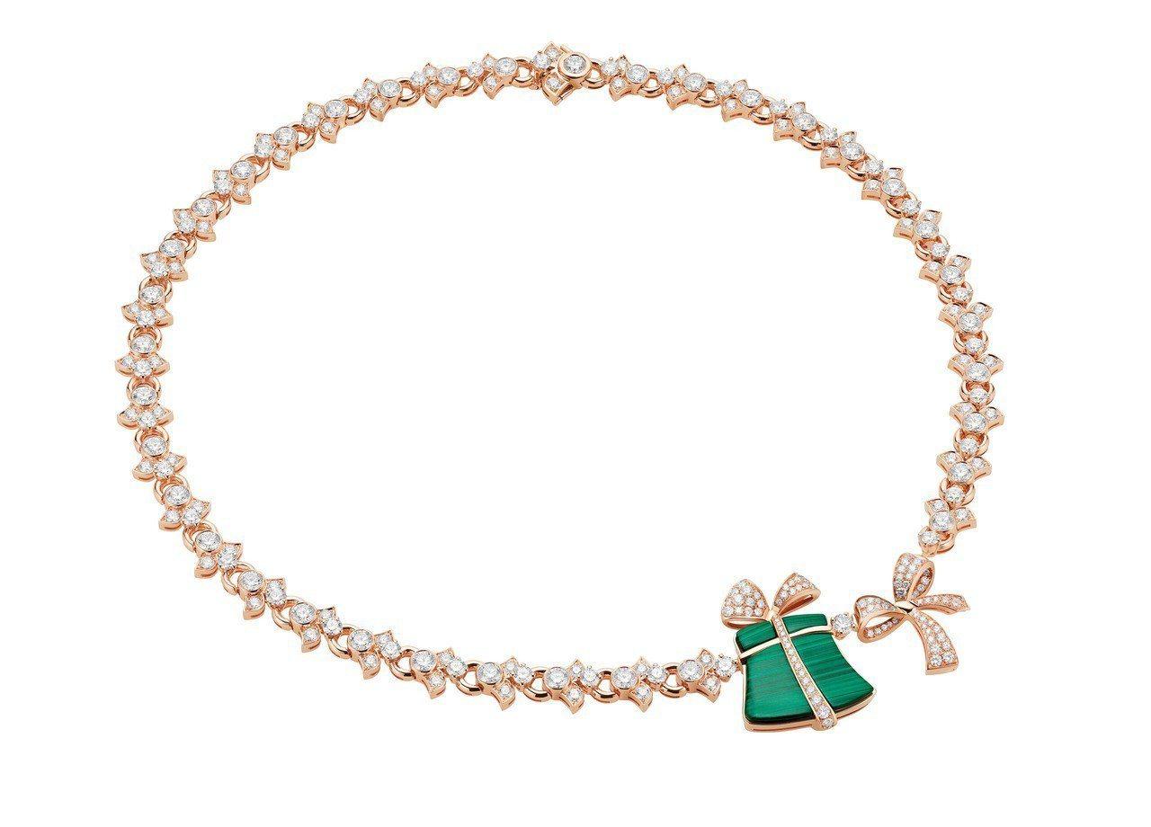 麗晶限定BVLGARI FESTA系列玫瑰金孔雀鑽石項鍊,292萬1000元。圖...