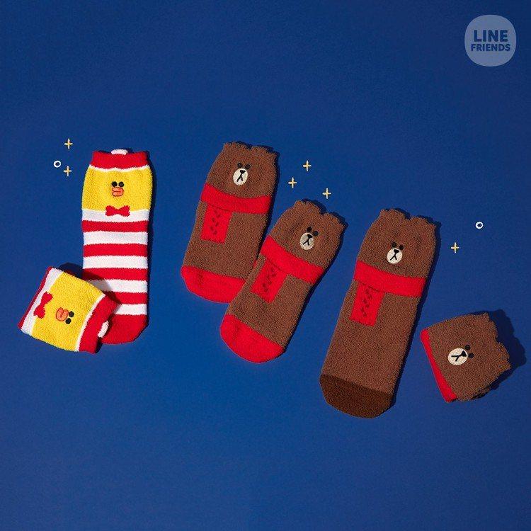 LINE FRIENDS耶誕限定造型襪,售價170~200元。圖/LINE提供