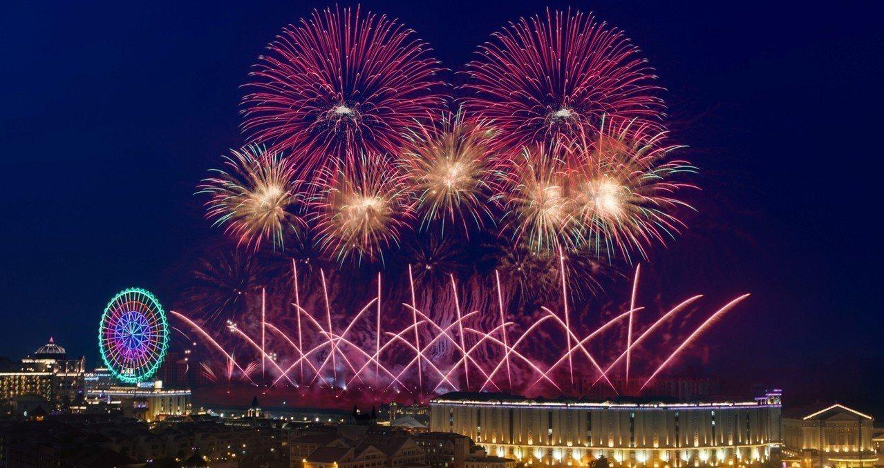 高雄義大世界今年的跨年煙火秀時間為999秒。圖/義大世界提供
