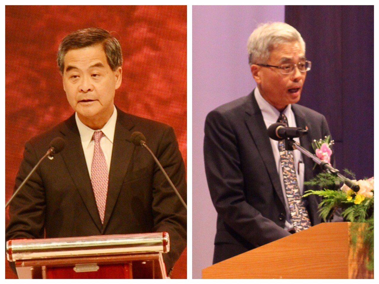 香港前特首梁振英(左)與香港科技大學校長史維。 (中新社、聯合報系資料照片)