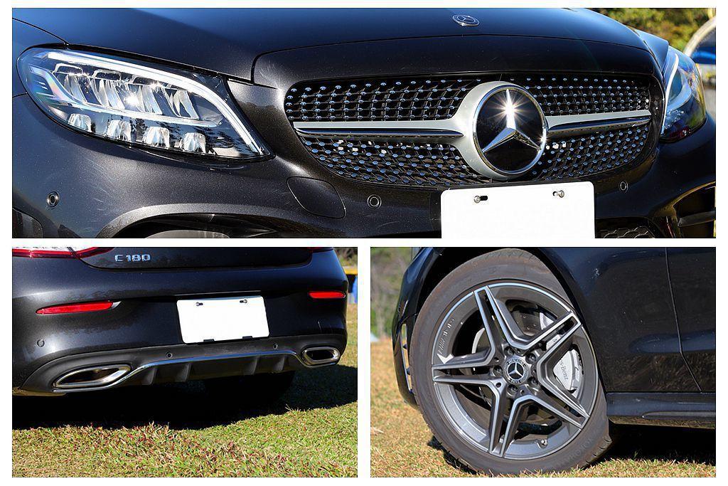 賓士C 180 Coupe試駕車就特別選配AMG Line外觀套件,外觀從單柵式...